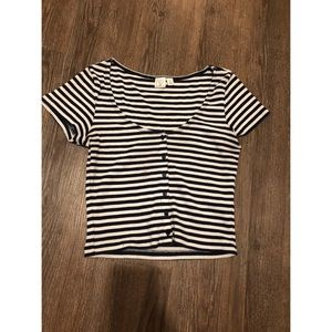 BP NAVY BLUE STRIPE BUTTON DETAIL CROP TOP